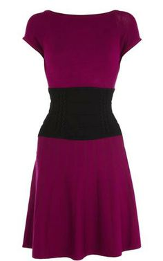 Karen Millen Knit and Ruffle Dress Magenta - suit-dresses.com - $83.85