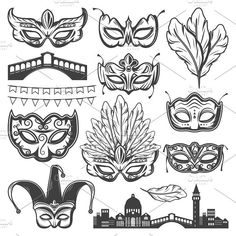 Buy Vintage Venice Carnival Elements Set by VectorPot on GraphicRiver. Vintage Venice carnival elements set with venetian cityscape bridge different masks feathers and garland isolated vec. Vintage Circus Party, Vintage Carnival, Unique Tattoo Designs, Unique Tattoos, Carnival Tattoo, Circus Tattoo, Drawn Mask, New Orleans Tattoo, Scary Clown Makeup