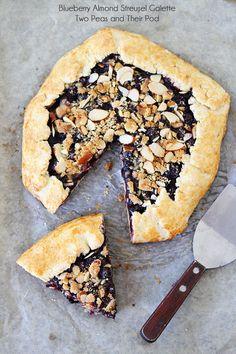 Blueberry Almond Streusel Galette Recipe on twopeasandtheirpod.com
