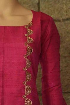 Best 11 Liquid embroidery with beads design on kurti – ArtsyCraftsyDad Salwar Neck Designs, Churidar Designs, Kurta Neck Design, Kurta Designs Women, Dress Neck Designs, Blouse Designs, Embroidery On Kurtis, Hand Embroidery Dress, Kurti Embroidery Design