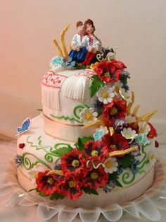 Wedding cake Ukrainian themed, from Iryna with love                                                                                                                                                     More