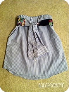 Man's Dress Shirt converting to a Woman's Skirt #diy #repurpose #upcycle--- DJ hated this, mine was the no sew version though.  I like it regardless