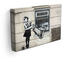 Banksy Cash Machine Girl Canvas Print or Poster Banksy Canvas Prints, Bansky, Modern Canvas Art, Cash Machine, Stencils, Street Art, Paintings, Awesome, Poster