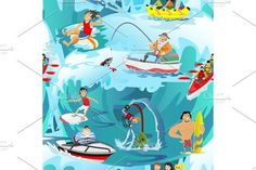 Water extreme sports seamless patterns, design elements for summer vacation activity textile, cartoon wave surfing, sea beach vector illustration, active lifestyle adventure. Sport Icons