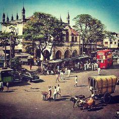 Main Street, near Gas paha Junction in Pettah, Ceylon in 1960's. Actual year & photographer unknown.