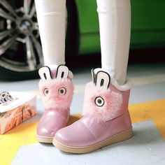 est Womens Cute Fur Trim Silver Pink Ankle Boots Winter Fur Lined Snow Boots