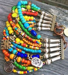 Dia de los Muertos Cuff: Colorful Boho Mexican-Inspired Skull Mixed-Media Cuff Bracelet $225