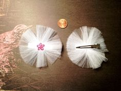 Set of 2 White/Pink Tulle Hair Bows