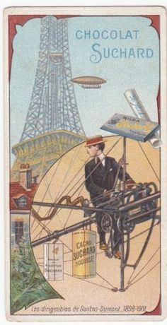 Antique-Suchard-Chocolate-Lithography-Trade-Card-Balloon-Santos-Dumont-1898