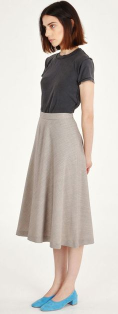 Maryam Nassir Zadeh Check Suzanne Circle Skirt with the MNZ Turquoise Suede Roberta Ballerina