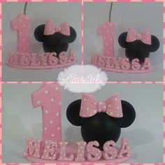 Minnie rosa Baby 1st Birthday, Birthday Cake, Minnie Baby, Cake Toppers, Mickey Mouse, Polymer Clay, Baby Shower, Cookies, Crafts
