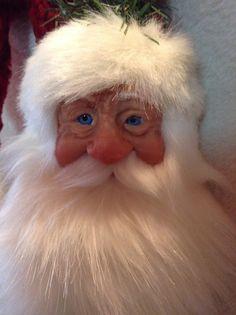 Sculpted Santa face hand made www.thewickcandles.com etsy.com