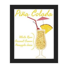 """Click Wall Art Pina Colada Framed Graphic Art on Canvas Size: 10"""" H x 8"""" W x 1"""" D, Frame Color: Black"""