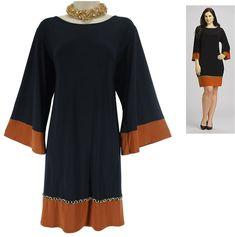22W 3X NWT SEXY Womens NAVY/ORANGE SHIFT DRESS Chain Trim Day/Evening PLUS SIZE #dressbarn #Shift #Versatile