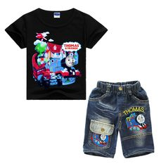 Children's Day Gift Baby Boys Cartoon Clothing Sets Thomas & Friends Printed T shirt + Jeans for Kids Casual Clothes Train Tops