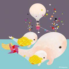Childrens Art, Kinderzimmer Prints, Kunst für Kinderzimmer, Wal Kunst - 'Beluga Gumballs' von Schmooks