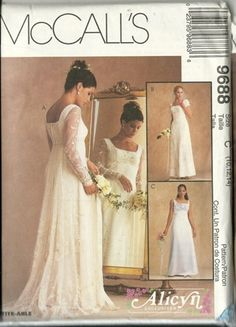 1998 McCalls Misses LIned Gown, Wedding Dress Pattern, Pattern 9688 Size C, 12, 12, 14, Taille 26B. $30.00, via Etsy.