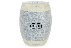 Twisted Lotus Garden Stool, Blue/White on OneKingsLane.com this could look great on the outdoor blue carpeting with a chair with blue cushions