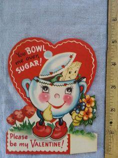 Vintage Valentine Anthropomorphic Sugar Bowl and Sugar American Greeting Card