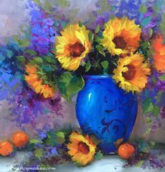 Heart's+Glow+Sunflowers+and+a+North+Texas+Workshop,+painting+by+artist+Nancy+Medina
