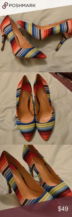 NWOT Gianni Bini Multi Color Pointed Toe Heels These shoes are beyond fun! Never been worn but without tags (see pictures for details). Perfect for adding a pop of color to any outfit! Retail $80, reasonable offers accepted. Bundle for a private discount! Gianni Bini Shoes Heels