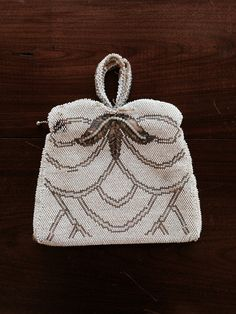 1930's Beaded Art Deco White and Silver Clutch by OhWhatLove, $24.50