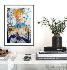 Romantic Beautiful Fragile Woman Blue gloves by ArtPrintsByDiana