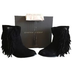 Pre-owned Twelfth St. By Cynthia Vincent St. Nibble Sz 10 In Oiled... (215 CAD) ❤ liked on Polyvore featuring shoes, boots, none, zipper boots, kohl boots, black fringe shoes, fringe boots and black zip boots