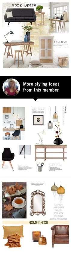 """""""Work space"""" by helenevlacho on Polyvore featuring interior, interiors, interior design, home, home decor, interior decorating, HUGO, .wireworks, CB2 and LSA International"""