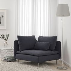 IKEA - SÖDERHAMN, Corner section, Samsta dark gray, SÖDERHAMN seating series allows you to sit deeply, low and softly with the loose back cushions for extra support. Small Corner Couch, Small Couch In Bedroom, Dark Gray Bedroom, Small Corner Decor, Small Couches Living Room, Bedroom Sofa, Corner Chair, Söderhamn Sofa, Modular Sectional Sofa