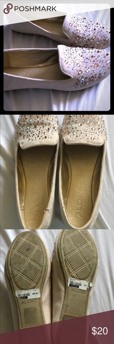 Aldo Beville Woman's Flat Super cute and sparkly. Aldo Woman's flat. Beville size 6. Light cream suede with blue/gold rhinestones. They have gotten a little too tight for my liking, that why I have to part with them. Perfect for work or around town. Aldo Shoes Flats & Loafers