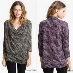 New $128 SOFT JOIE Misses XS Reine Spectrum Print Printed Drape Draped Top Tee #SoftJoie #Soft #Joie #Draped #KnitTop #Casual #Discount #Sale #Clearance #Purple