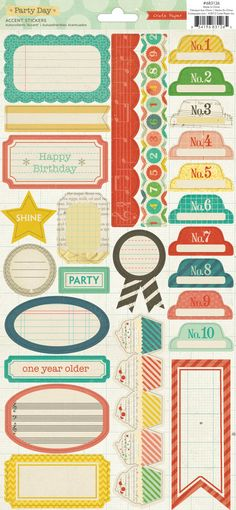 60 OFF  Crate Paper Party Day Accent Stickers  di MollysScrapbooks