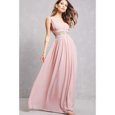 Forever21 Soieblu Crepe Cutout Gown ($68) ❤ liked on Polyvore featuring dresses, gowns, tea rose, pink dress, pink evening gowns, v neck dress, full length gowns and forever 21 dresses
