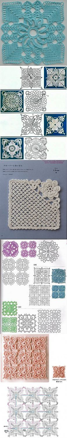 The squares in the collection of crochet patterns for jumpers.