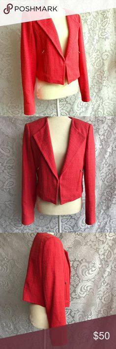 Ann Taylor tweed crop jacket Bright coral cropped jacket, perfect for spring. Zippers still have protective plastic and the liner is in great condition. Measurements coming soon. Ann Taylor Tops