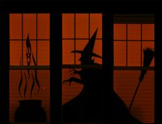 Awesome Halloween decorating ideas for your home! Make silhouettes out of black paper to affix to windows. Check out this link for more ideas!