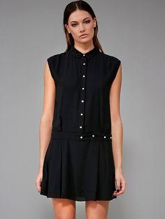 #AdoreWe #StyleWe Dresses - ONYOU Black Buttoned Sexy Shirt Collar Sleeveless Mini Dress - AdoreWe.net