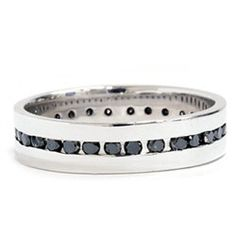 Mens Black Diamond Eternity Ring Comfort Fit Channel by Pompeii3, $599.00