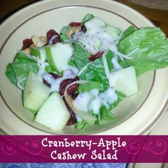 Cranberry-Apple Cashew Salad This is a yummy side salad that a co-worker of my mom's had made years ago. Mom then made it for a family function and it's been one of our favorites ever since! :) It's SO delicious, especially when apples are in season, or even in... #apple #cashew #cranberry