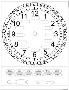 Time in Spanish - Printout of a clock French Teaching Resources, Teaching Time, Teaching French, Teaching Spanish, Teaching Math, French Flashcards, French Worksheets, Kids Worksheets, Clock Worksheets
