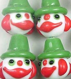 """Amazon.com: Luxury & Custom {20 x 17mm} of 6 Individual Large Size """"Lampworked"""" Beads Made of Genuine Glass w/ Fun Bright Halloween Party Scary Smiling Clowns Character Design {Red, White & Green}: mySimple Products: Arts, Crafts & Sewing"""