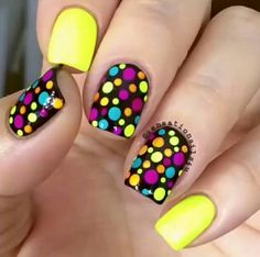 Since Polka dot Pattern are extremely cute & trendy, here are some Polka dot Nail designs for the season. Get the best Polka dot nail art,tips & ideas here. Dot Nail Designs, Pretty Nail Designs, Simple Nail Art Designs, Easy Nail Art, Nails Design, Bright Nail Designs, Simple Art, Cute Summer Nail Designs, Fancy Nails