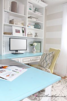 Pink Little Notebook Home Office Reveal BHG Makeover Madness Winner Home Office Space, Home Office Design, Home Office Decor, Home Decor, Office Ideas, Office Spaces, Workspace Design, Desk Space, Office Furniture