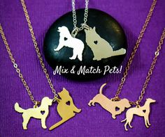 Two Pets Necklace • Dog Family • Pet Family Necklace • Two Dogs • Personalized Pets • Multiple Pet Lover Gift • Cat Lover • Mixed Pet Charm  Two pet necklace in Sterling Silver for a pet loving family gift by IvyByDesign on Etsy. ✤✤ Choose any two animals! Tell me what they are in the Note to IvyByDesign box at checkout. https://img1.etsystatic.com/169/0/9284858/il_570xN.1195093497_byu6.jpg ✤✤  CUSTOM dog necklace, based on a picture of your puppy! Check it out h...