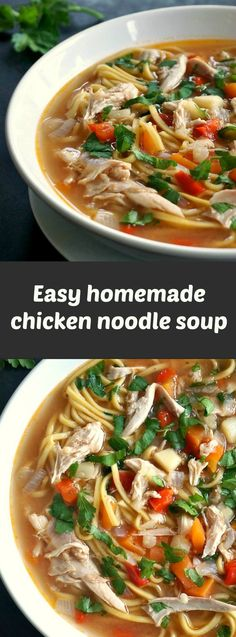 Easy homemade chicken noodle soup, the best soup for the cold season. Comforting, soothing, just perfect.