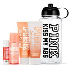 PINK Sun Kissed Water Bottle Gym Kit (€18) ❤ liked on Polyvore featuring beauty products, fragrance, pink and lip balm kit