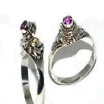 Sterling Silver thin Poison Ring with Genuine Amethyst Gemstone-Free Shipping