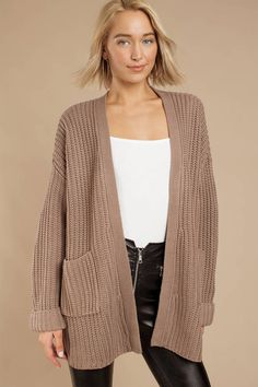 A Little Closer Oversized Cardigan Cozy up in the A Little Closer Taupe Oversized Cardigan. This oversized cable knit cardigan features an open front, relaxed sleeves, and a slouchy fit Cream Cardigan Outfit, Maxi Cardigan, Cardigan Outfits, Cardigan Sweaters For Women, Long Cardigan, Cardigans For Women, Cute Cardigans, Black Cardigan, Women's Sweaters
