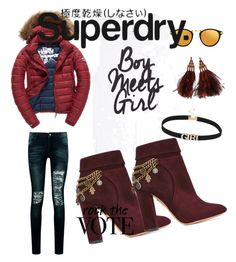 """""""The Cover Up – Jackets by Superdry: Contest Entry"""" by grena-kong ❤ liked on Polyvore featuring Fuji, Boohoo, Aquazzura, Linda Farrow, Louis Vuitton and Superdry"""